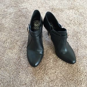Vince Camuto Black Leather Zip Up Booties